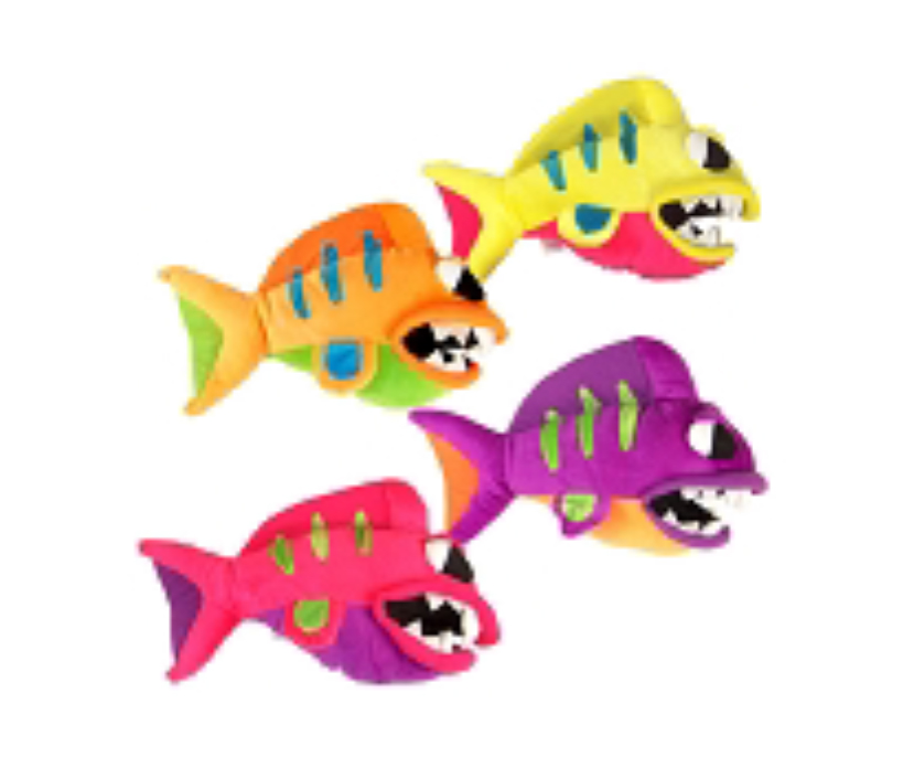 Plush dog toys with squeakers killer fish for Fish dog toy